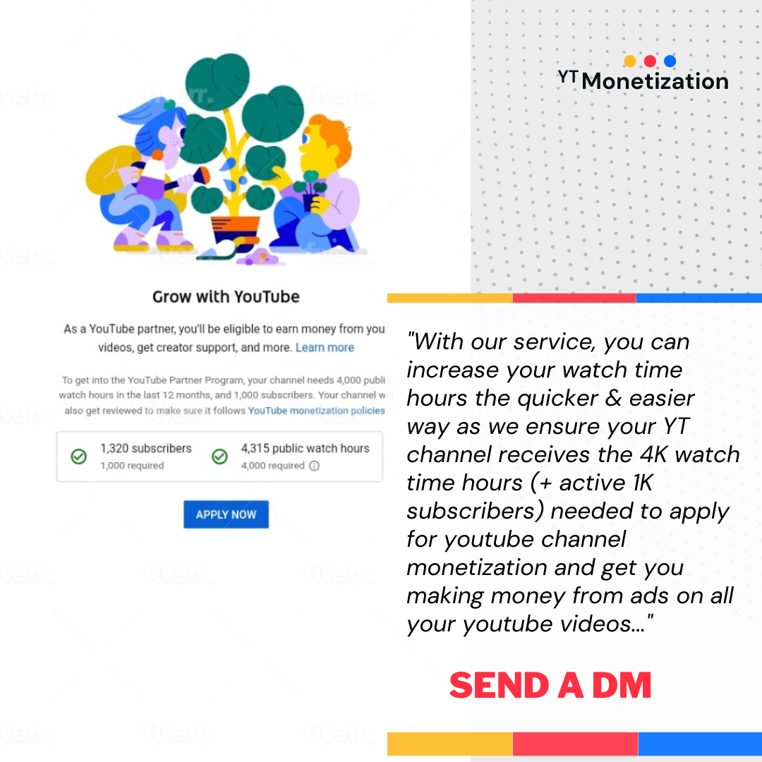 Buy 4000 Youtube Watchtime hours for Monetization and 1000 Youtube active subscribers