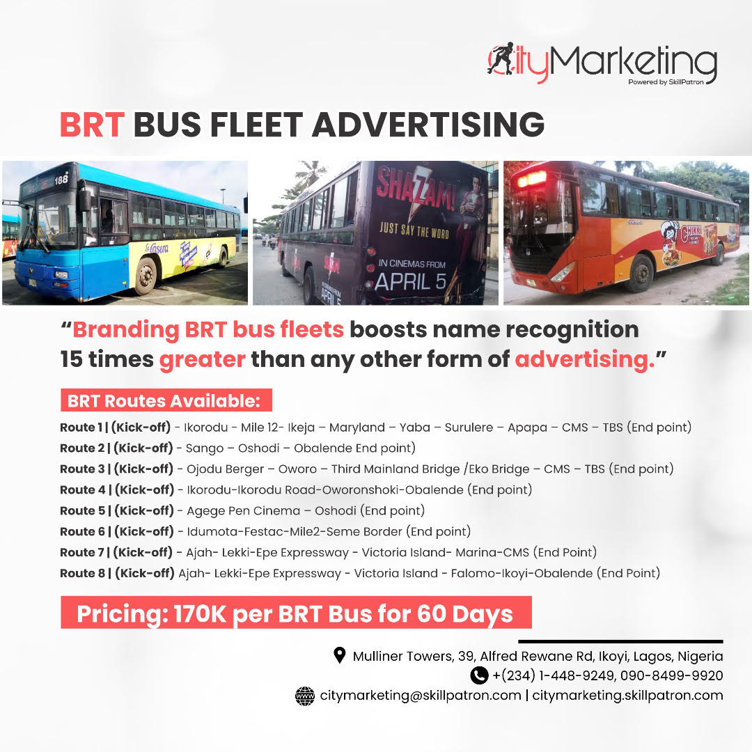 Advertising Company In Nigeria, Brt Bus Branding, Brt Bus For Hire, Brt Bus Lagos, Brt Bus Tv Advert Rates, Brt Tv Advert, Cost Of Advertising On Brt Buses, Cost Of Billboard Advertising In Lagos, Cost Of Tv Advertising In Nigeria, Digital Billboard Advertising Rates, Lag Bus, Lagos Brt Map, Lagos State Brt Bus Recruitment, List Of Brt Bus Stops In Lagos, Online Advertising, Out Of Home Advertising Nigeria,, Placing Ads On Brt Buses, Television Advertising In Nigeria, Transit Advertising In Nigeria,
