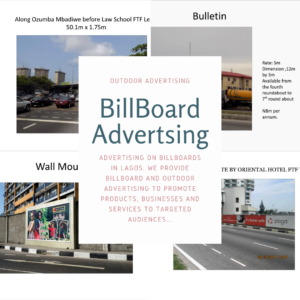 Advertising on Billboards in LAGOS. We provide billboard and outdoor advertising to promote products, businesses and services to targeted audiences...